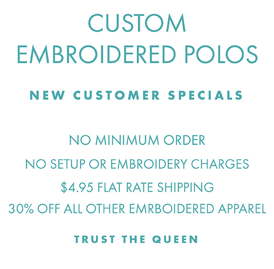 Custom Embroidered Apparel, no setup or embroidery charges, shipping just $4.95 per order