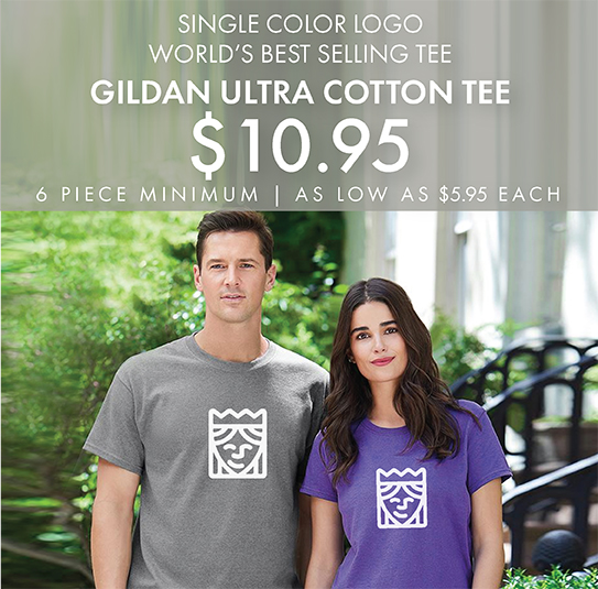 One-Color Custom Printed Gildan Ultra Cotton Tees!