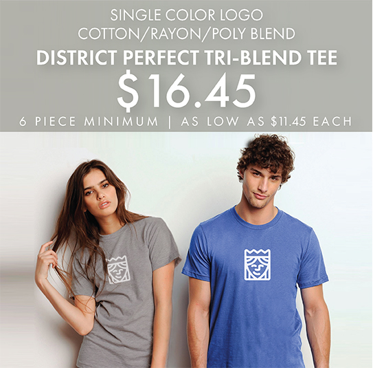 One-Color Custom Printed District Perfect TriBlend Tees!