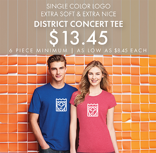 One-Color Custom Printed District Concert Tees!